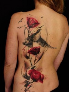 Sparrow Tattoo and red Roses