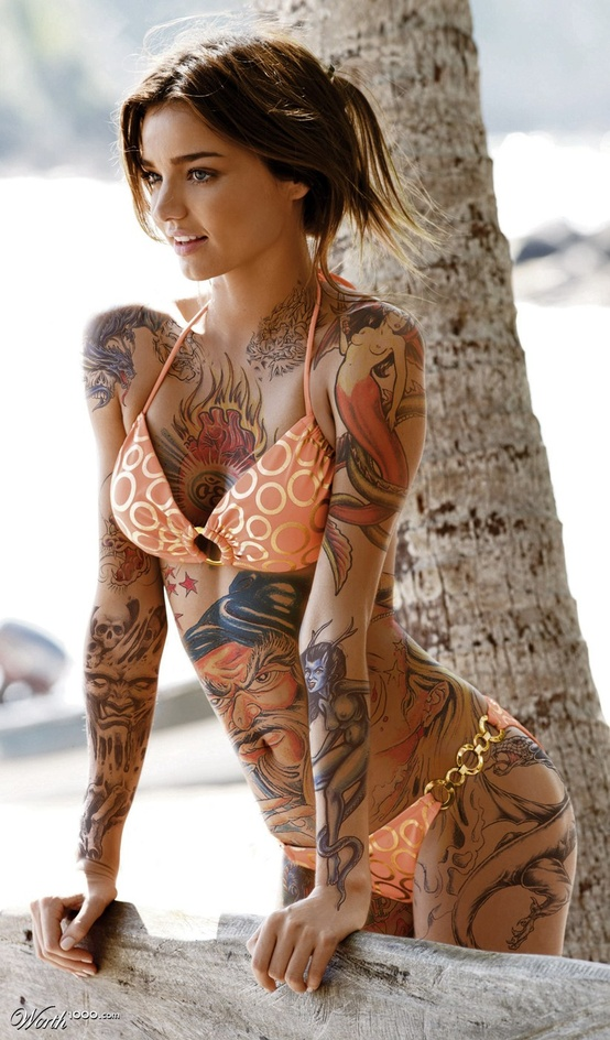 beautiful tattoo painting wrapping the body of a beautiful model.