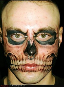 Skull on Face Tattoo