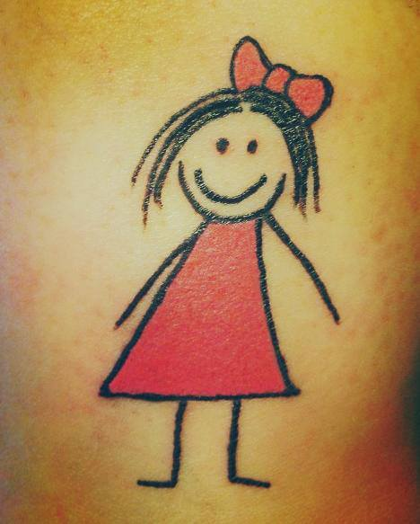 Happy Girl Tattoo with Red Bow