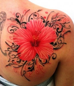 Hibiscus Flower Shoulder Tattoo