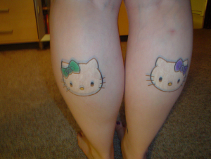 Hellow Kitty Calves Tattoos