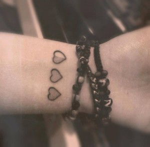 3 Hearts Wrist Tattoos