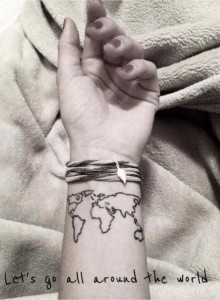 Map of the World Wrist Tattoo