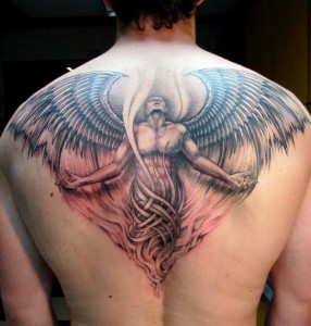 Angle Rising Out of Flame Back Tattoo