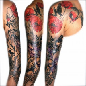 Flying bird Sleeve Tattoo For girls