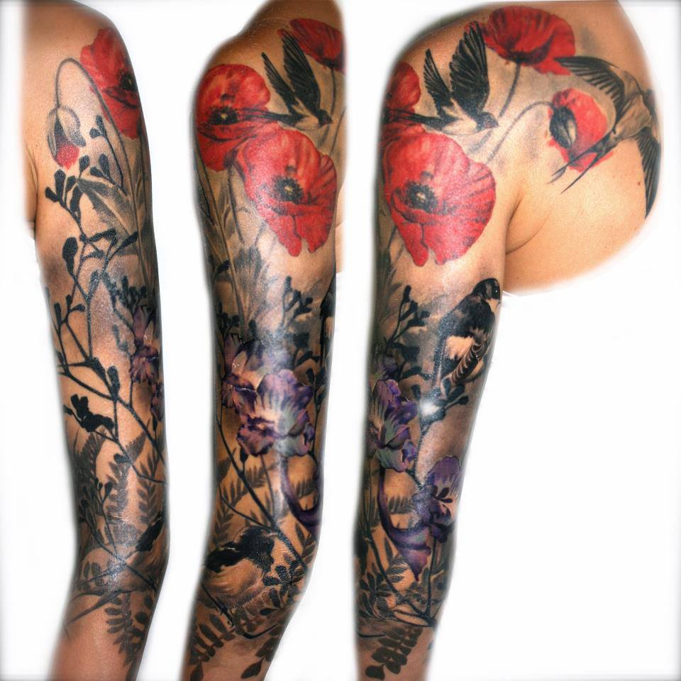 Colored Sleeve Tattoo Of Birds: Flying Bird Sleeve Tattoo For Girls