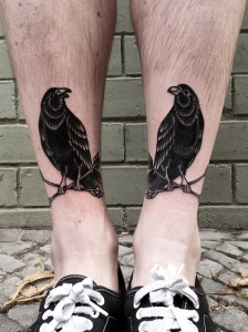 Black crow Perching On Leg Tattoo