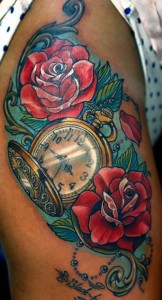 The clock of Time and Beauty Tattoo