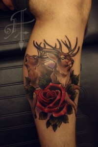 Deer and Roses Tattoo
