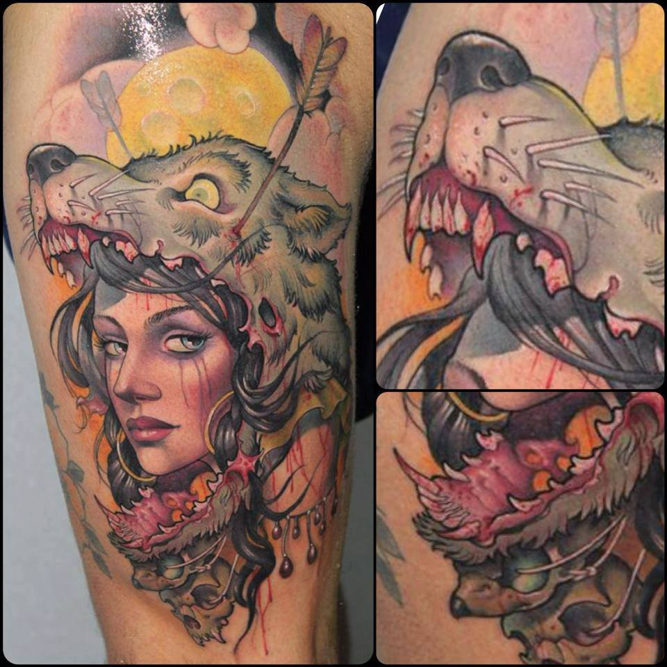 Tattoo Woman In Wolf