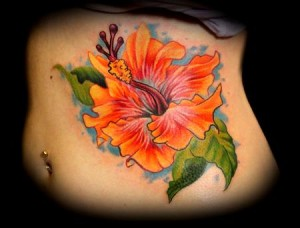 Colorful Hibiscus Flower StomachTattoo