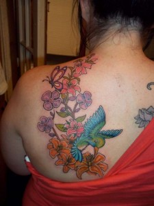 Tropical bird and flower tat