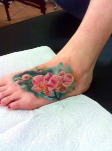 Pink Orchid Foot Tattoo