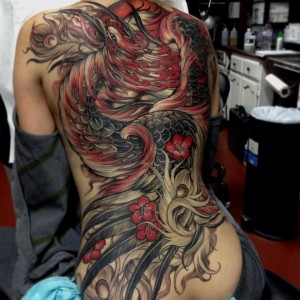 Beautiful Red Phoenix Tattoo Back piece
