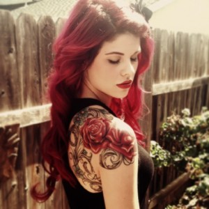 Red Rose Tattoo for Red Hair Girl