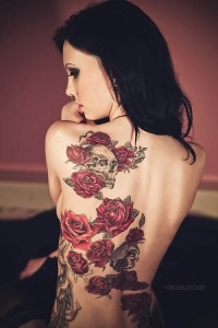 Red Rose and Skull Back Piece Tattoo