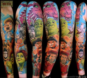 Cartoon Shrek Characters Tattoo