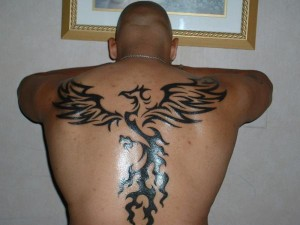 Tribal Bird Tattoo Back Piece