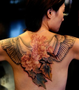 Angle Wings and Flowers Tattoo