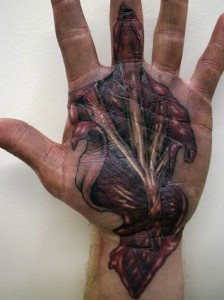 3D Hand Tattoo Sliced Open
