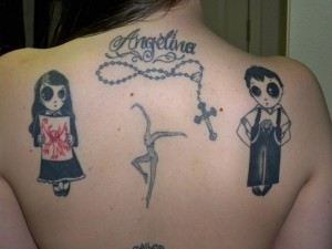 Cool Emo Kids Back Tattoo