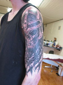 Cool Viking Skull Sleeve Tattoo