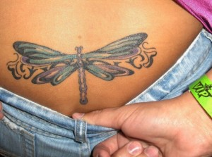 Cute Lower Back Tattoo:  Cool Dragonfly