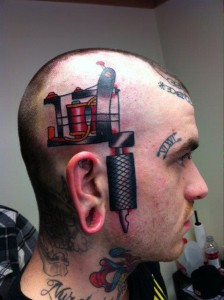 3D Tattoo Machine On Side of Head
