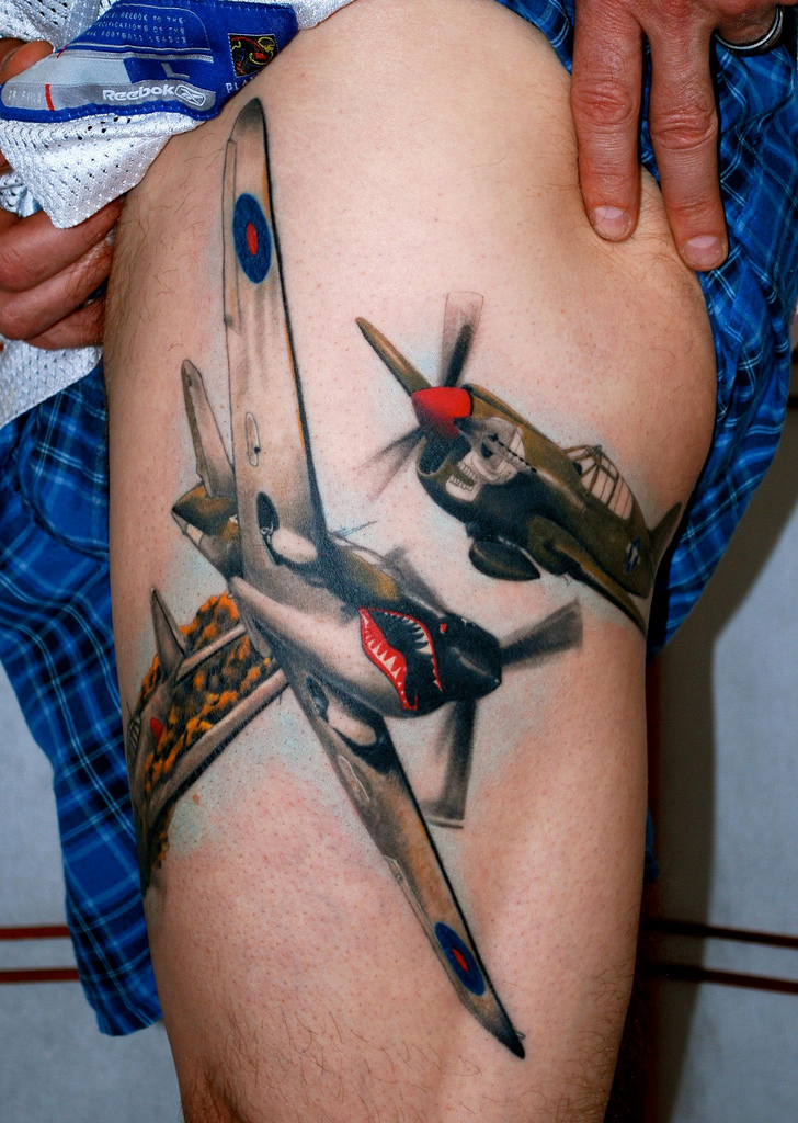 Air Plane Fighters Tattoo