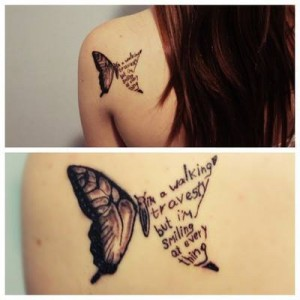 Butterfly and Words Tattoo