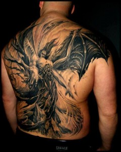 Crazy Demon Rising Tattoo