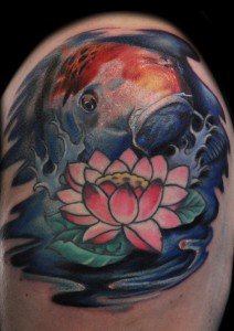 Jumping Out of Water Koi Tattoo