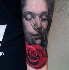 Sleeve Tattoo of Girls Face