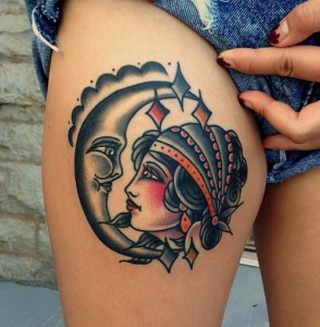 Girl and Moon Face Tattoo
