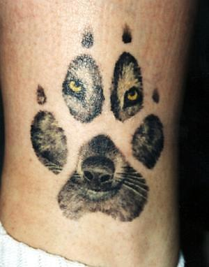 Wolf Paw and Wolf Face Tattoo