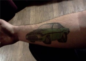 Bad Car Tattoo on Forearm