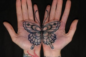Butterfly Tattoo on Palm of Hands