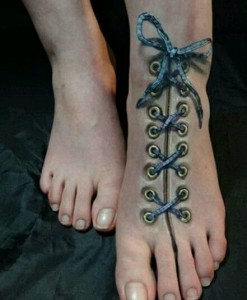 Cool Foot Corset Tattoo on Foot