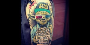 Cool 3D Yoda Tattoo