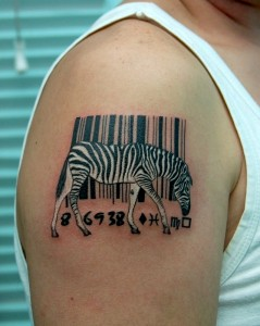 Zebra Bar-Code Tattoo on Shoulder