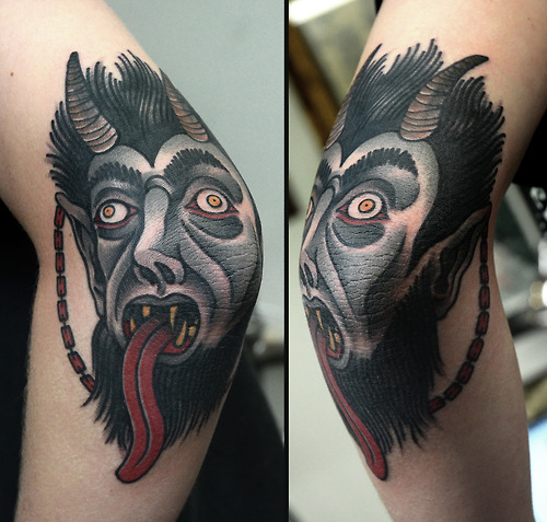 Demon Head and Tongue Tattoo