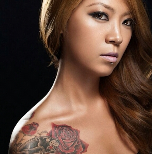 Korean Girl With Red Rose Tattoo