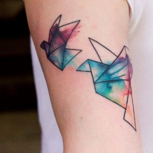 Oragami Crane Bird Tattoo