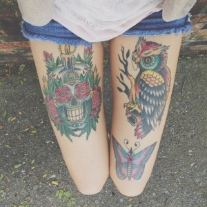 Skull and Owl Tattoo on Girl Thigh