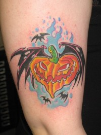 Witch Pumpkin Bat Halloween Tattoo