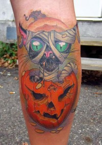 Cool Mummy Cat Halloween Tattoo