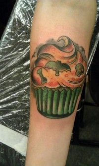Cupcake Halloween Zombie Tattoo