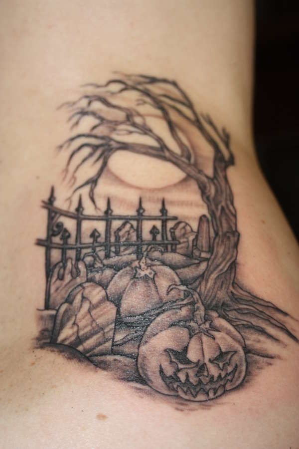 Cool halloween cemetery tattoo cool tattoos online for Cemetery tattoo pics