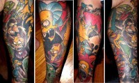 Simpsons Halloween Collage Tattoo
